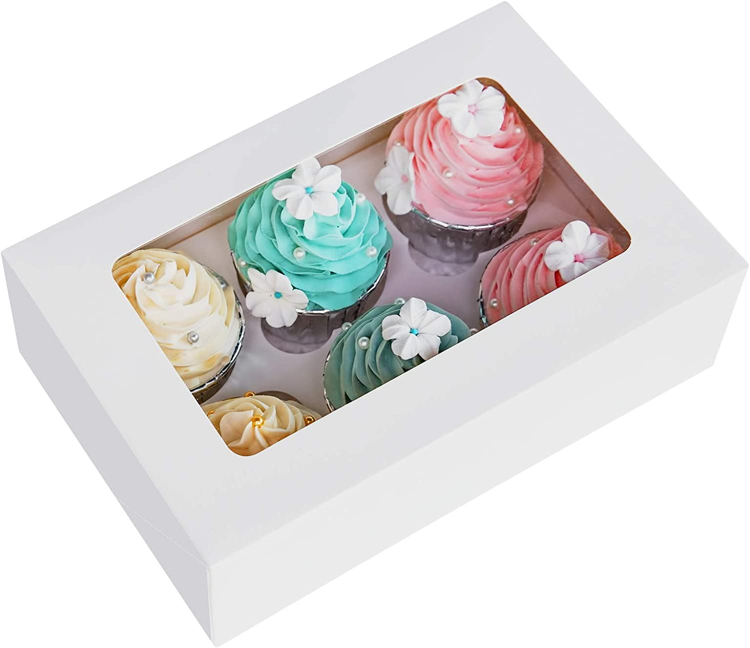 Cupcake Boxes with Inserts 6 Holders,9x6x3inch Large White Standard Bakery Boxes with Window Food Grade Cake Carrier Container for Muffins,Gift Treat Box Bulk,Pack of 15