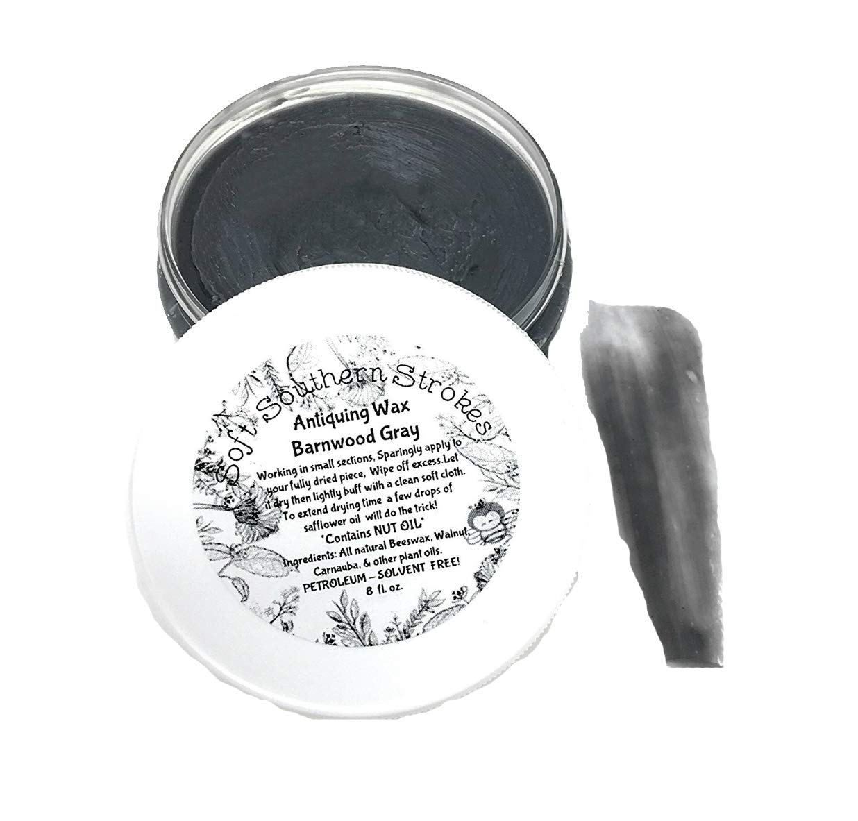 Antiquing Wax Decorative Soft Finishing Vintage Furniture Wax Great for Arts and Crafts 2 oz, or 8 oz. (8 oz, Barnwood Gray)