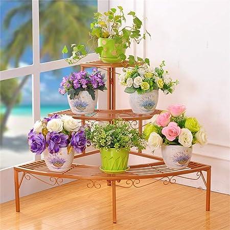 Estante Jardinera Soporte for macetas Hierro Arte Soporte de flores multicapa Esquinas de macetas de esquina Estante de escalera Sala de estar interior Balcón Estante de exhibición de plantas - L84 y: