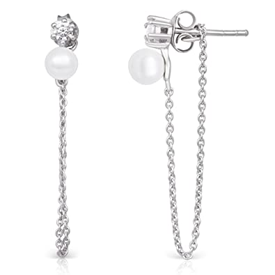 5749b92471a5 Image Unavailable. Image not available for. Color  Sterling Silver Dangling  Chain   Shell Pearl CZ Rhodium Plated Drop Earrings