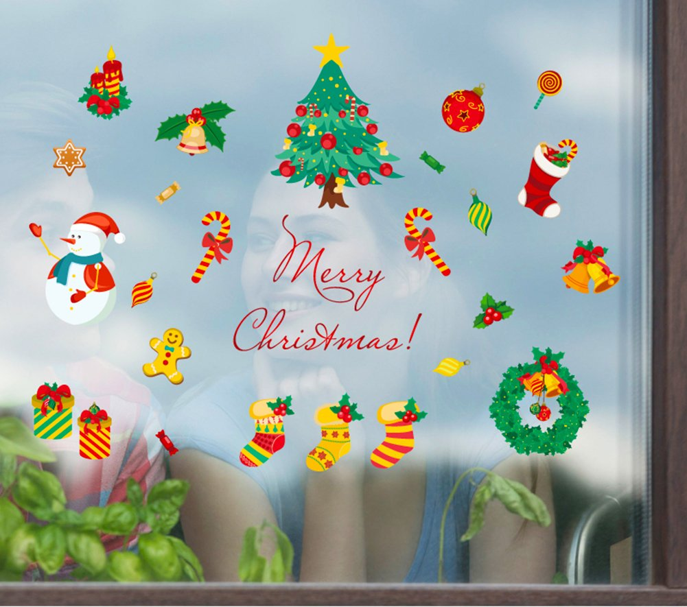 IBEILLI Wall Sticker 4 Pack Wallpaper Removable Big Window Glasses Clings Decal for Christmas New Year(4 Pack)