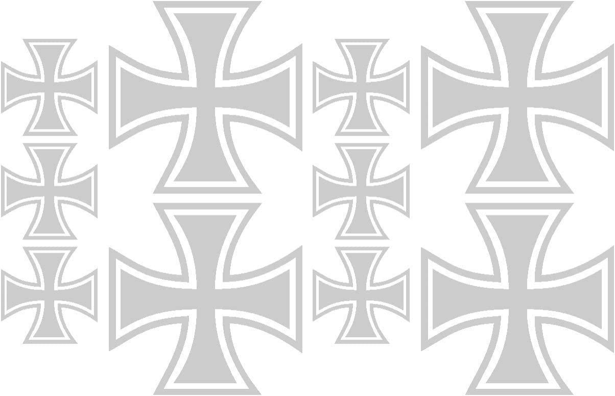 Samunshi/® 10x Aufkleber Eisernes Kreuz im Set Bogen26x17cm azurblau