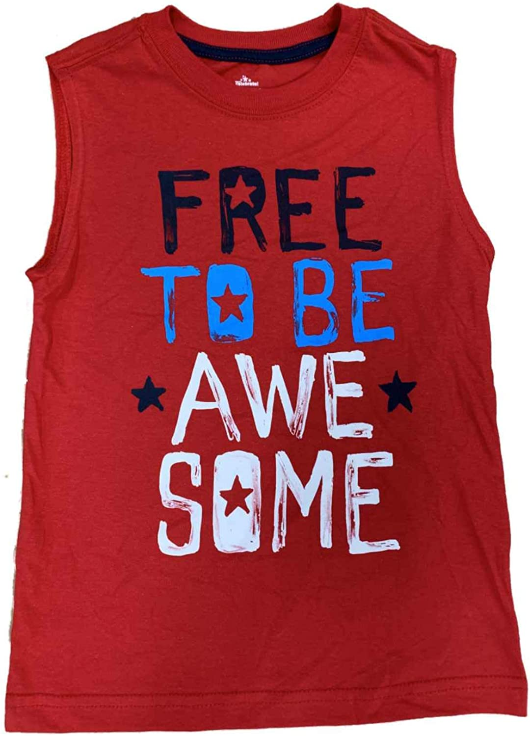 Boys Red Free to Be Awesome Patriotic Muscle Tank Top T-Shirt
