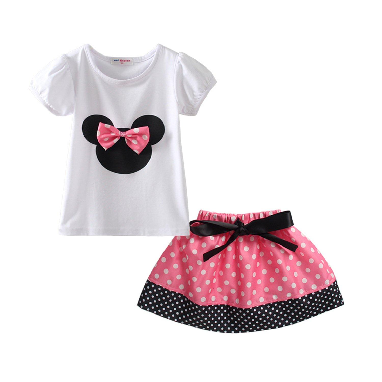 Stven Hetick Little Girls Summer Clothes Sets Cute Outfits Polka Dot Skirt Set Pink P100