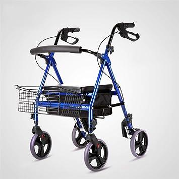 XINGPING-HOME Carro de la Compra Viejo portátil del hogar Supermercado Los carros Viejos Plegables Pueden Sentarse en el Carro pequeño para Comprar carros ...