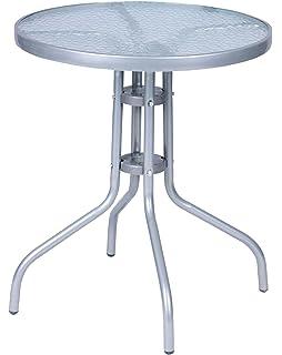 Lieblich Mojawo Bistrotisch Glas/Metall Rund Ø 60 H70cm Silberfarben Balkontisch  Gartentisch Glastisch