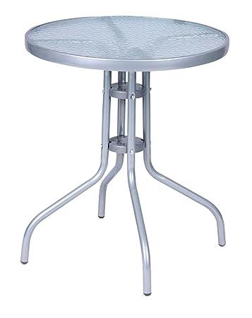 Wunderbar Mojawo Bistrotisch Glas/Metall Rund Ø 60 H70cm Silberfarben Balkontisch  Gartentisch Glastisch