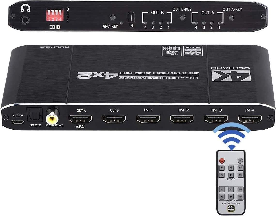 Amazon Com 4k Hdmi Matrix Switch 4x2 Hdmi Matrix Switcher Splitter 4 En 2 Out Con Extractor Edid Y Control Remoto Ir Soporte 4k Hdr Hdmi 2 0b Hdcp 2 2 4k 60hz 3d 1080p Electronics