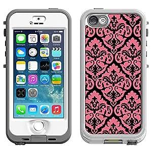 Skin Decal for LifeProof Nuud Apple iPhone 5 Case - Vintage Pink Floral Pattern on Black
