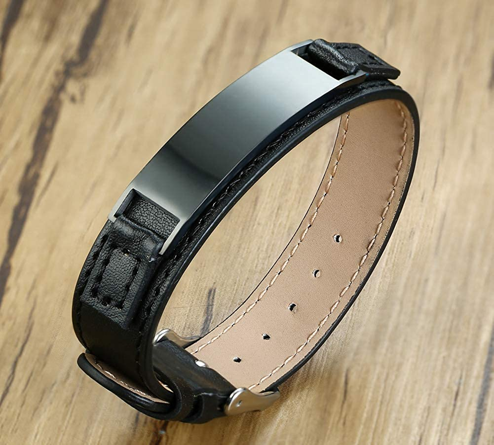 Mealguet Jewelry Personalized Engraving Mens Leather Wristband Stainless Steel Plate Custom ID Name Bracelets for Him,Adjustable
