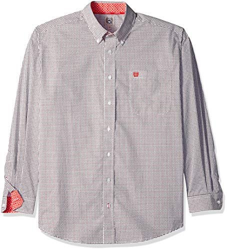 Cinch Mens Classic Fit Long Sleeve Button One Open Pocket Print Shirt, White/Burgundy L