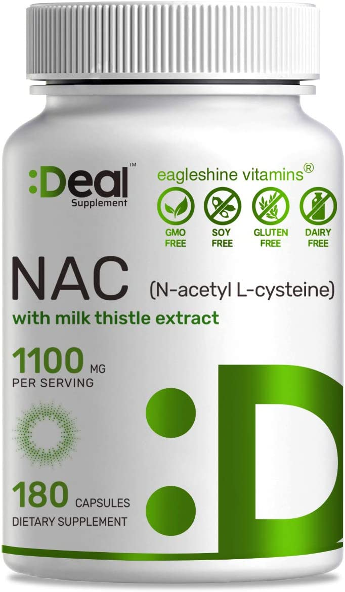 Deal Supplement N-Acetyl L-Cysteine NAC with Milk Thistle Extract, 1100mg per Serving, 180 Capsules, Maximum Promote Liver and Lung Function, Non-GMO, Made in USA