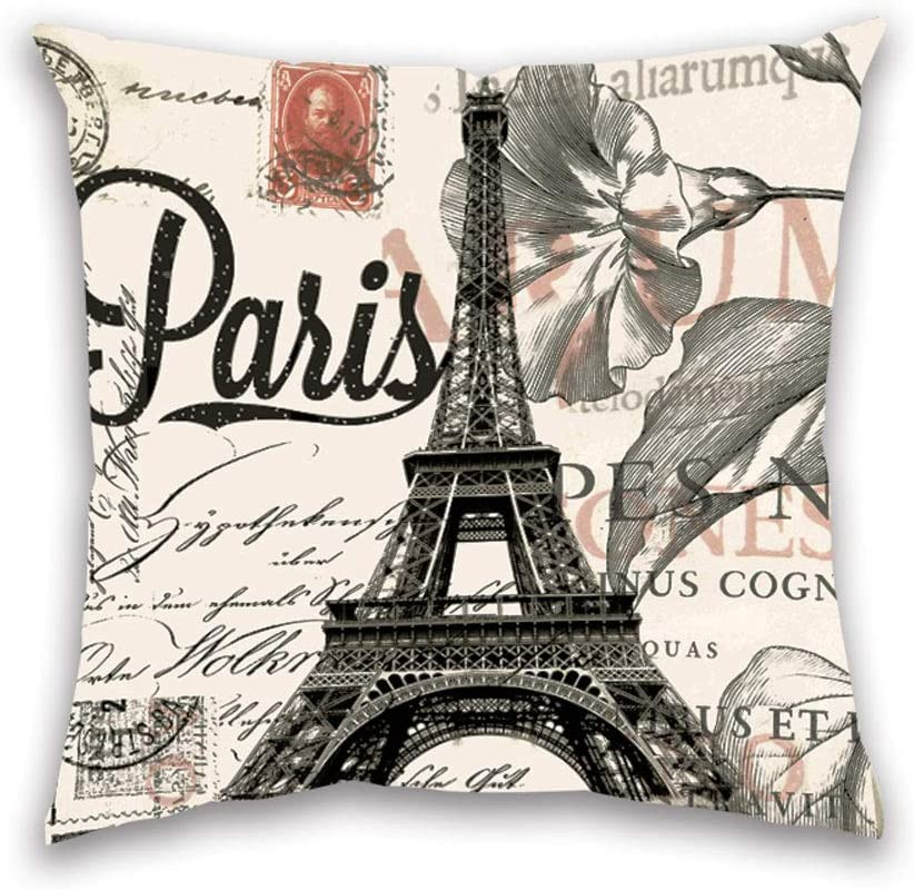 Throw Pillow Covers 18x18 Black Beige Paris Eiffel Tower Square Pillowcases Cotton Linen Decorative Cushion Pillow Cover for Sofa Couch Living Room Girls Bedroom Home Decor