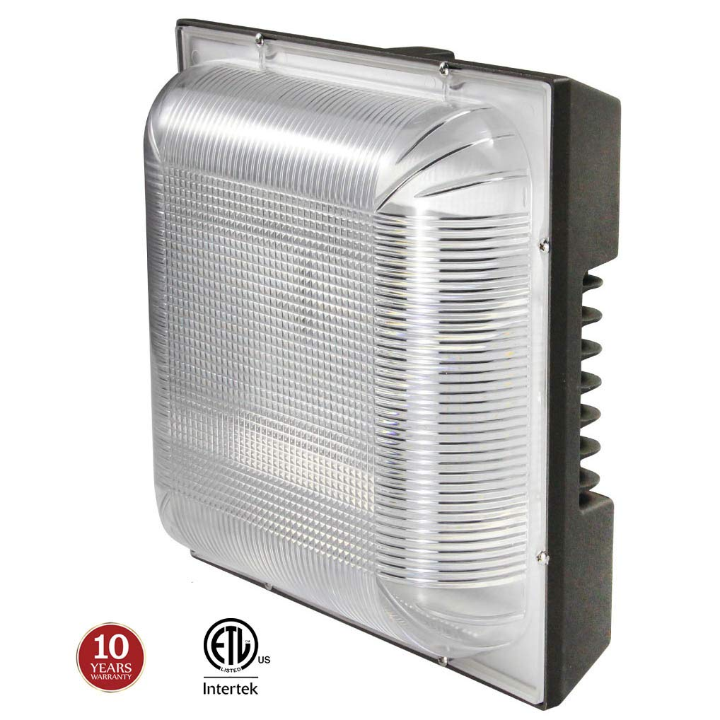 """LED Canopy Light 100W, 250-400W HPS/MH Replacement, 12.4"""" x 12.4"""" Square Ceiling Lights, 5000K 11000lm 100-277Vac IP65 Waterproof for Warehouse Gas Station Car Wash, 10-Year Warranty by Kadision"""