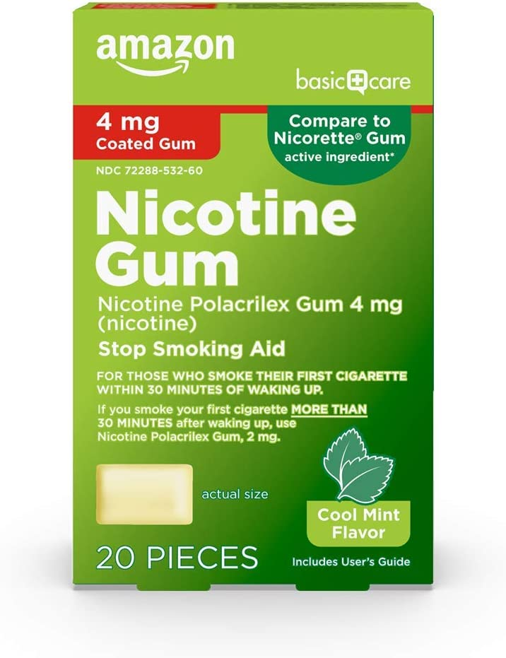Amazon Basic Care Nicotine Polacrilex Coated Gum 4 mg (nicotine), Mint Flavor, Stop Smoking Aid; quit smoking with nicotine gum, 20 Count