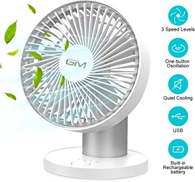 12'' Desk Fan Electric Oscillating Portable 3 Speed Silent Cooling Home Office