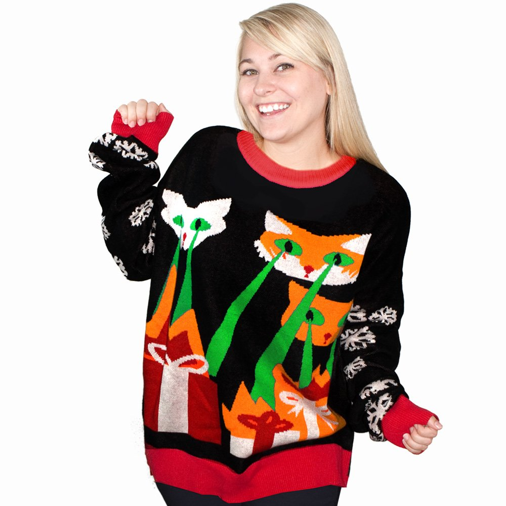 7352aaac287e7 Amazon.com: Laser Cat-Zillas Ugly Christmas Sweater-FunQi, Black (X-Large):  Clothing