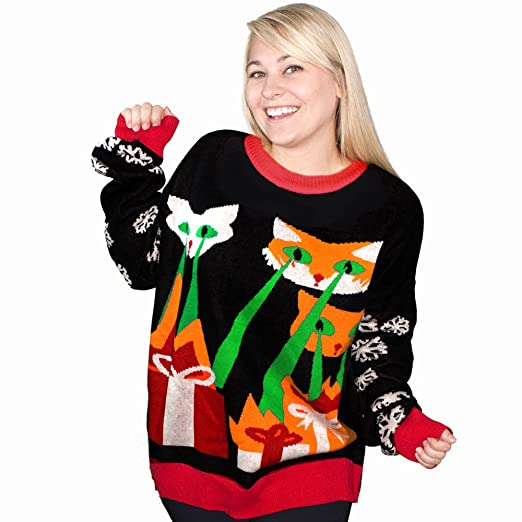 Amazoncom Laser Cat Zillas Ugly Christmas Sweater Funqi Black Xx