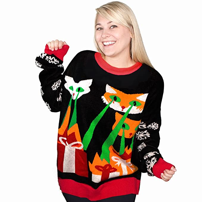 Ugly Christmas Sweater Cat.Funqi Laser Cat Zillas Ugly Christmas Sweater Black
