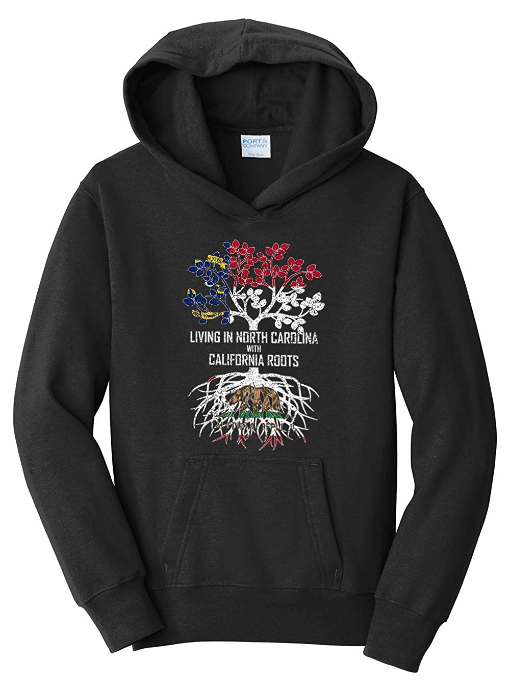Tenacitee Girls Living in North Carolina with California Roots Hooded Sweatshirt