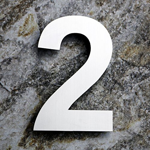 Qt modern large house number 8 inch brushed stainless for Big modern house numbers