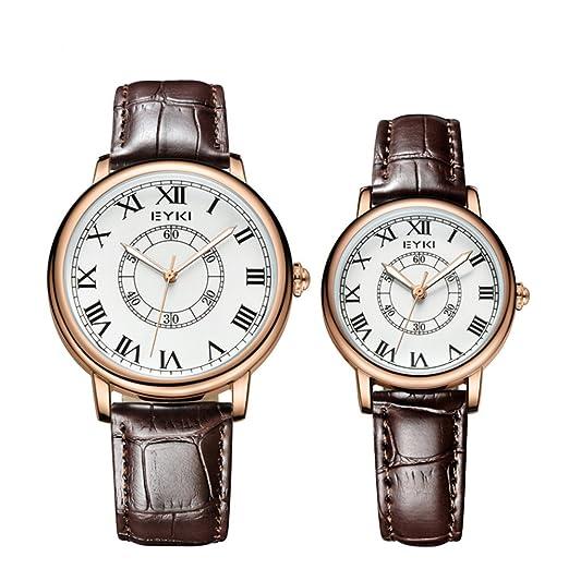 Pareja Reloj al por mayor de mujeres de los hombres de la correa Escala Luminoso Negro Cuarzo Hombre modelos Blac: Amazon.es: Relojes