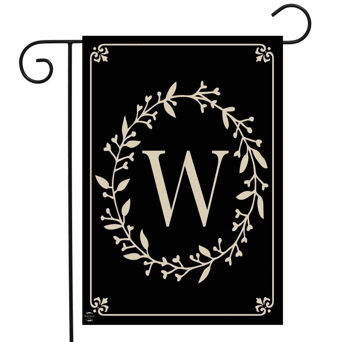 "Briarwood Lane Classic Monogram Letter W Garden Flag Everyday 12.5"" x 18"""