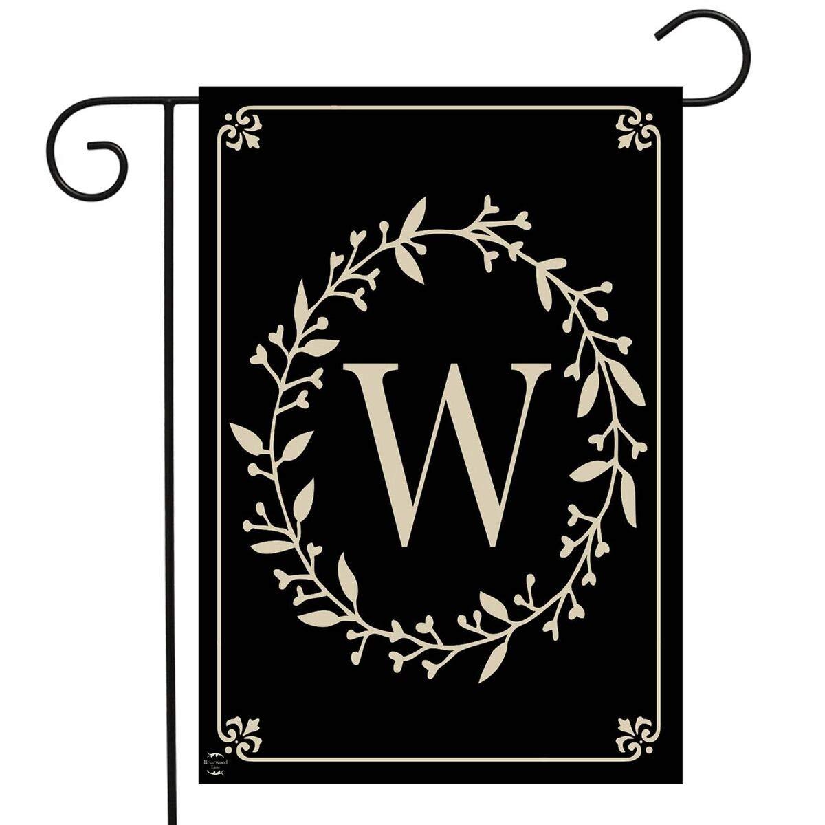 "Briarwood Lane Classic Monogram Letter W Garden Flag Everyday 12.5"" x 18"""
