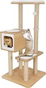 Nova Microdermabrasion Modern Cat Tree Wooden Cat Tree Cat Furniture with Scratching Posts Removable Mat