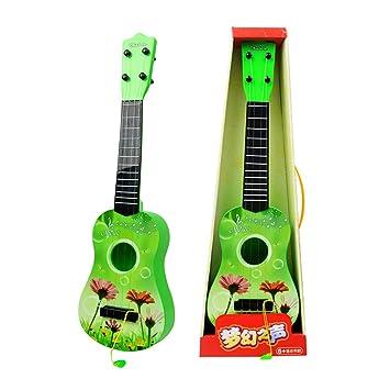 YVSoo Guitarra para Niños, Guitarra Juguetes Ukelele Guitarra Eléctrica Instrumentos Musicales Educativos Simulación Juguete Regalo (Verde): Amazon.es: ...
