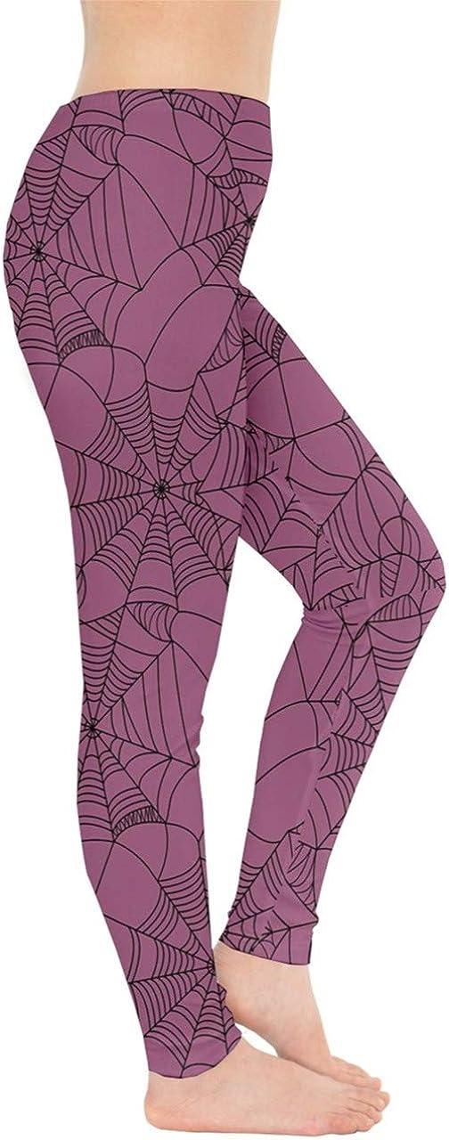 XS-5XL CowCow Womens Halloween Black Web Spiders Digital Print Stretchy Leggings