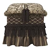 Jennifer Taylor Home Cassandra Collection Traditional Polyester Upholstered Rectangular Ottoman with Skirt, Trim and Tassels, Chocolate/Antique Gold