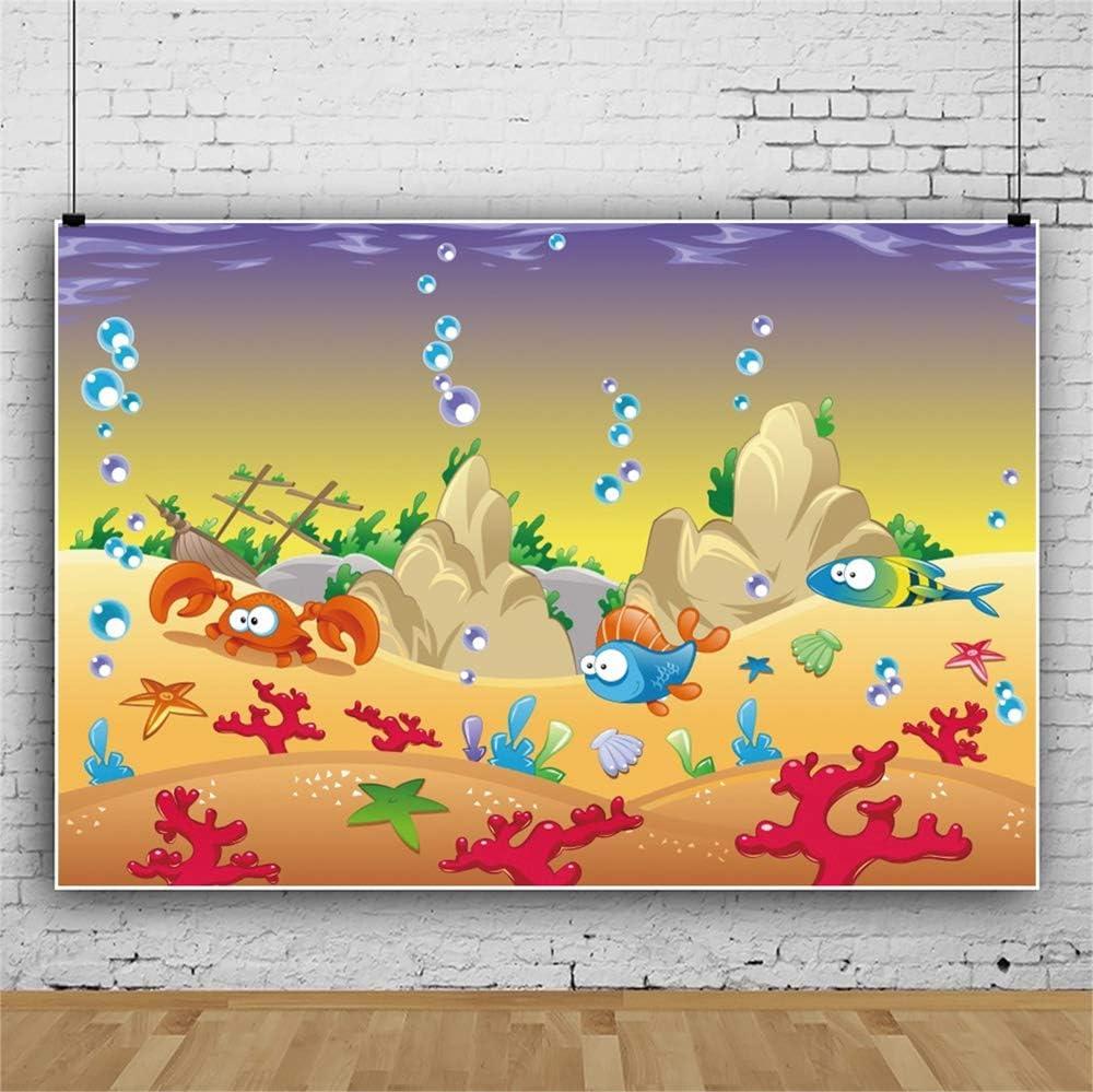 YEELE 12x8ft Under The Sea Backdrop Kids First Birthday Photography Background Underwater 1st Birthday Cake Smash Banner Cartoon Palace Sea World Decoration Photo Studio Props Wallpaper
