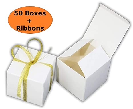 Threadnanny Small Gift Boxes Party Favor Favor Box White 2 X2 X2 50 Boxes With Gold Ribbons Wedding Favor Birthday Favor Baby Shower Favor