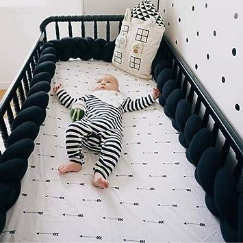 Amazon.com: Cuna de bebé parachoques nudo trenzado de felpa ...