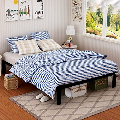 Superior Metal Bed Frame Steel Queen Size Decor Platform Iron Base With Headboard  And Footboard Slats Legs