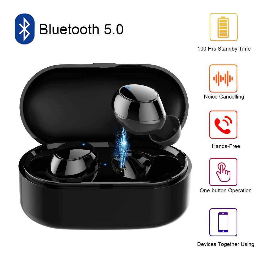 True Wireless Earbuds Bluetooth,Y1 5.0 Auto Pairing Wireless Earphones,4D HiFi Sound, Noise Cancelling Built-in Mic,IPX5 Water-Resistant with Charging Case for iPhone Android Smart Phones iOS(Black)