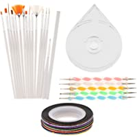 MagiDeal Nail Art Painting Dotting Pen Brushes & Nail Striping Tape Line Decoration Sticker & Clear Storage Case Manicure Tools