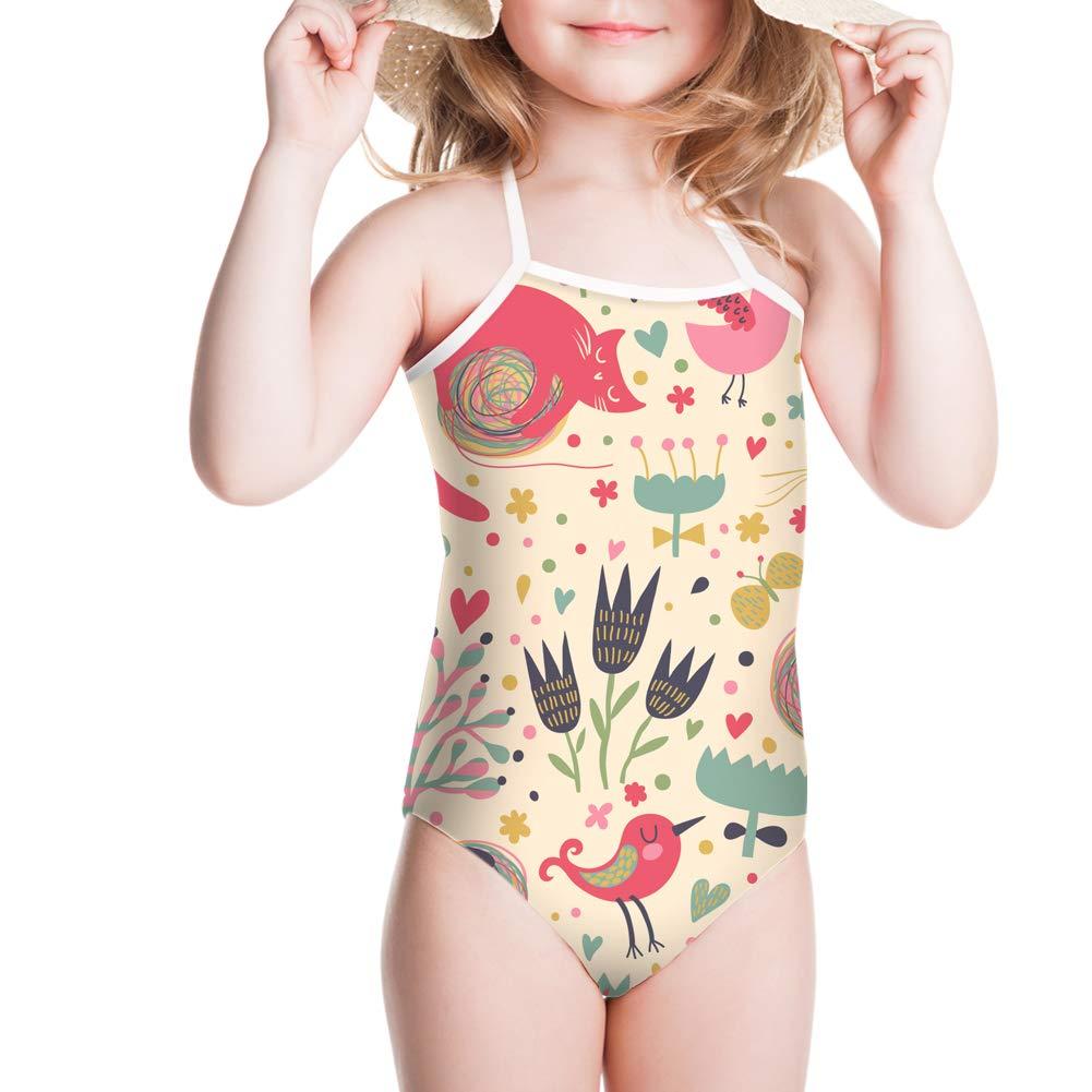 WHEREISART Little Girls One Piece Swimsuit Cute Cartoon Aniaml Print Bathing Suit Beach Clothes Swimwear
