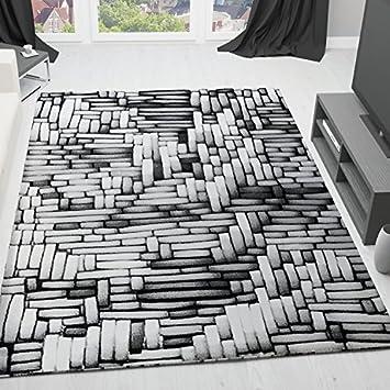 VIMODA Teppich Modern Design Grau Creme Wohnzimmer Moderne 3D Optik,  Maße:80 X 300
