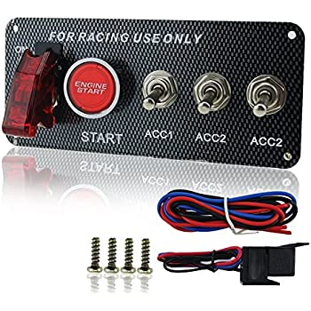 ambuker dc 12v ignition switch panel 5 in 1 car engine start push button led  toggle for racing car