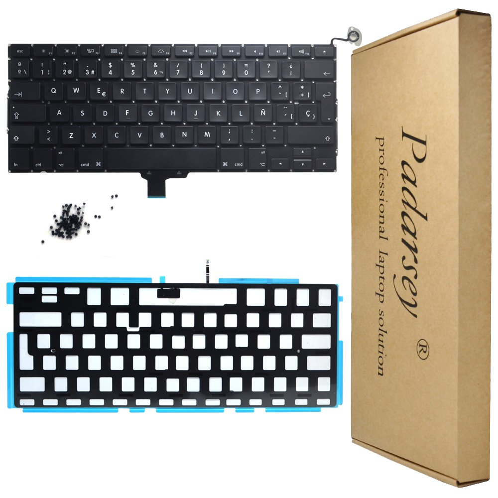 Padarsey New Laptop Replacement Backlit Backlight Keyboard with 80 pce screws Spanish ESPAÑOL Spanish Teclado for Macbook Pro Unibody 13-inch A1278 2008 ...