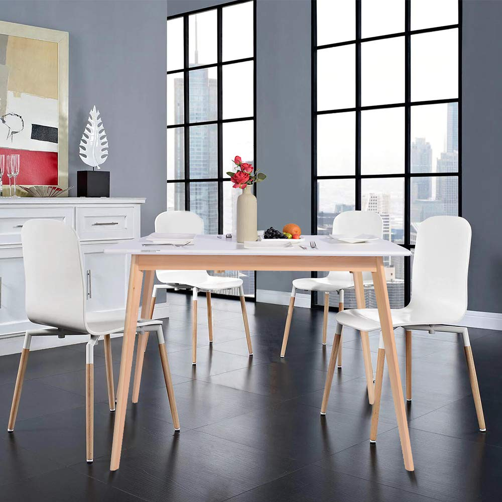 GreenForest Dining Table Mid Century Modern Rectangular Kitchen Leisure Table with Solid Wooden Legs 47.2'' x 27.6''x 30'', White by GreenForest (Image #2)
