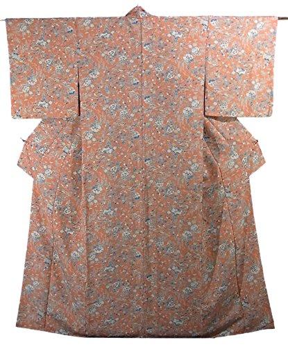 実際に慈悲深い直接リサイクル 着物 小紋 流水に四季花 正絹 袷 裄65.5cm 身丈166cm