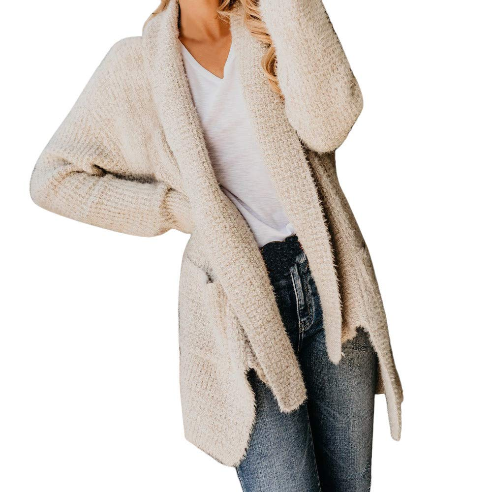 Women's Open Front Cardigan Clearance- Jiayit Women Pocket Long Sleeve Sweater Coat