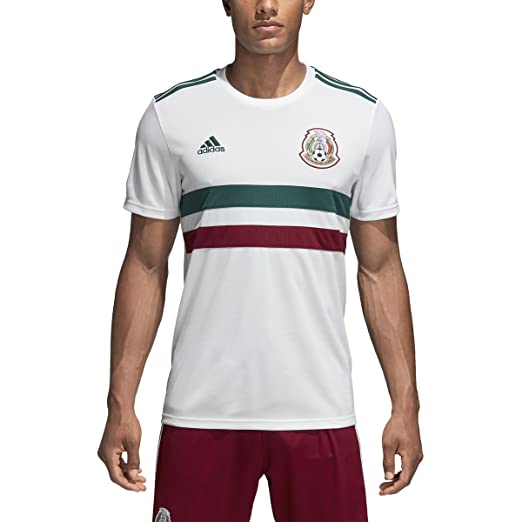 aeb1c3316 adidas Men s 2018 Mexico Away Replica Jersey White Collegiate  Green Collegiate Burgundy Small