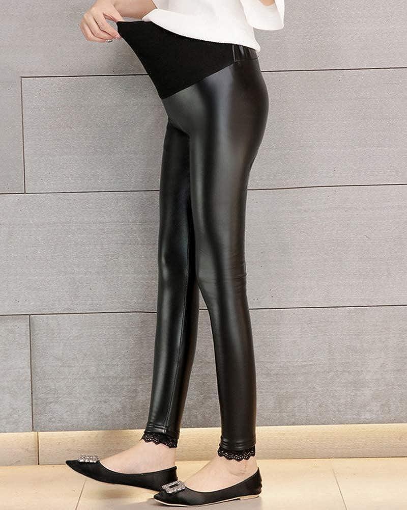 Shaoyao Pantalones Embarazada Premama Cuero PU Maternidad Elasticos Leggings
