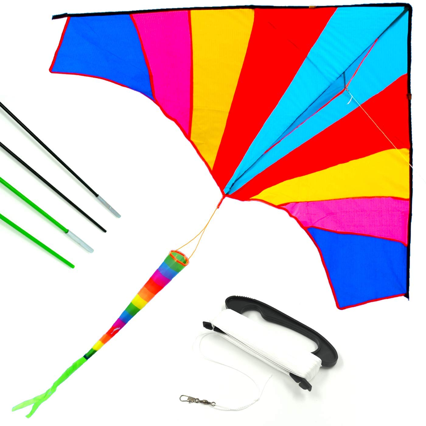 Allon Rainbow Delta Kite for Kids, Easy Fly Large Beach Kite for Beginners and Adults, Perfect Toys for Outdoor Games and Activities, Giant Size 60 x 80 Inches, Bonus with 330' String Line