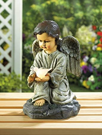 Charmant Solar Garden Statues, Angel With Dove Outdoor Yard Lights Solar Figurines,  Resin