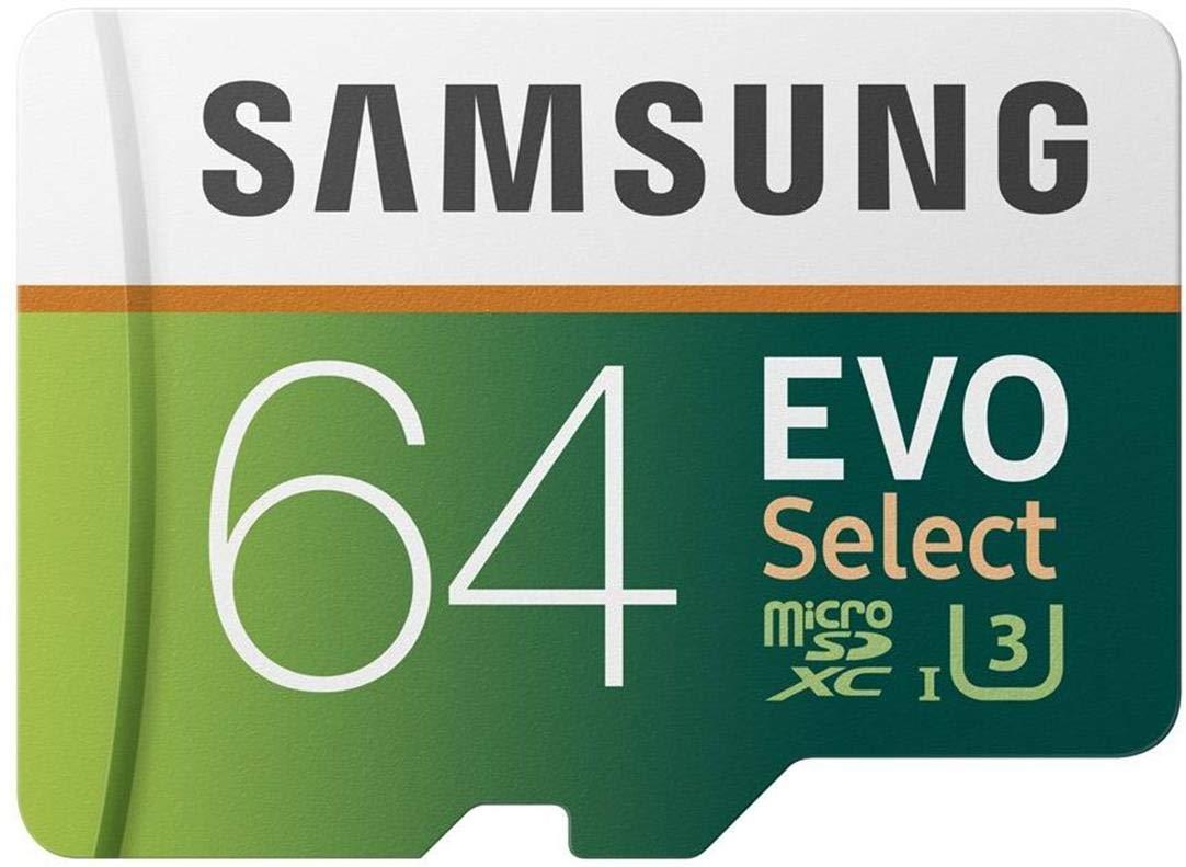 TALLA 64GB. Samsung EVO Select - Tarjeta de Memoria microSDXC de 64 GB con Adaptador SD, 100 MB/s, U3, Color Verde y Blanco